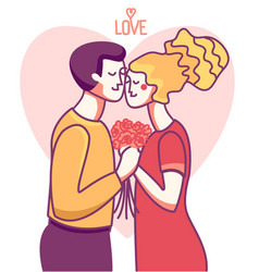 happy valentine day card love couple man and vector image