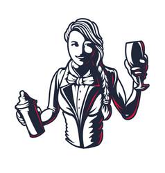 happy woman bartender or barman young girl vector image