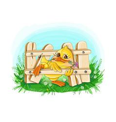 holiday greeting duckling vector image