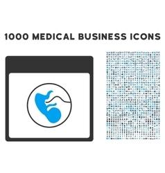 Human Embryo Calendar Page Icon With 1000 Medical vector