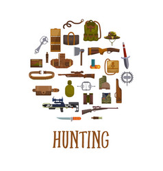Hunting equipment and hunter accessories vector