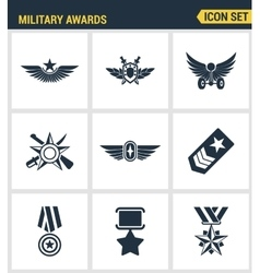 Icons set premium quality military awards star vector image