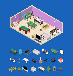 Interior game room and parts isometric view vector