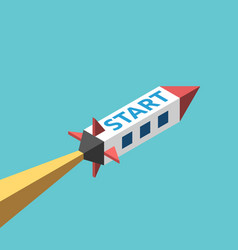 isometric space rocket start vector image