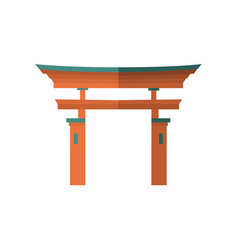Japanese wooden torii gate national symbol vector