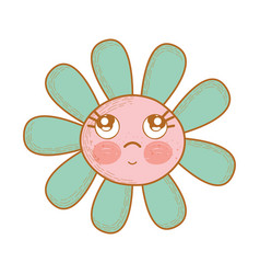 kawaii flower thinking with cheeks and eyes vector image
