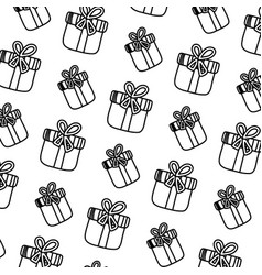 line close present box with ribbon bow background vector image