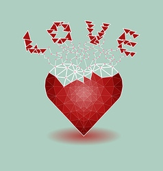 Low polygonal of red heart that growing to be love vector image