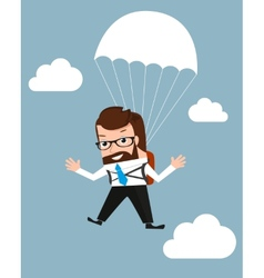 Lucky businessman is flying with parachute vector image