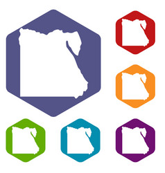 Map of egypt icons set hexagon vector
