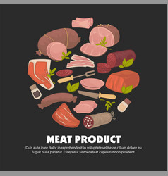 meat product butchery shop food herbs and spices vector image