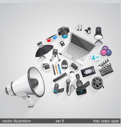 Megaphone foto video style set 6 vector