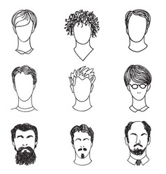 Men face various hair style beard man avatar vector