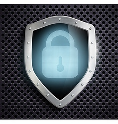 metal shield with blue lock vector image