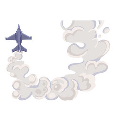 Military fighter jet with grey trail smoke air vector