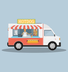 Mobile food car vector