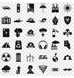 Modern disaster icons set simple style vector