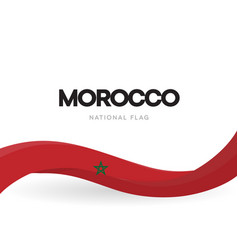 morocco flag wavy ribbon with colors moroccan vector image