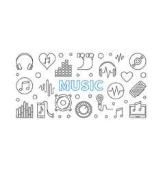 music horizontal banner made with outline vector image
