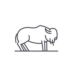 Musk ox line icon concept musk ox linear vector