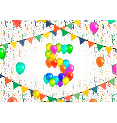 number five made up from colorful balloons on vector image