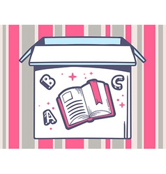 Open box with icon of open book on pink vector