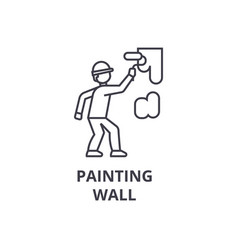 painting wall line icon sign vector image