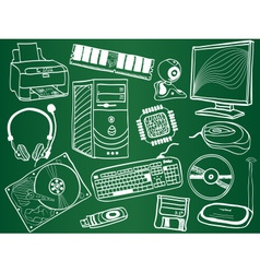 Pc components and peripheral devices sketches vector