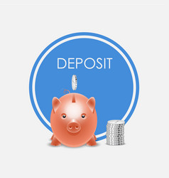 piggy bank money box deposit vector image