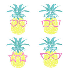 pineapple with glasses design exotic background vector image