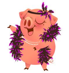 Pink pig in boa necklet sings karaoke vector