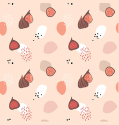 pink seamless pattern with whole and sliced figs vector image