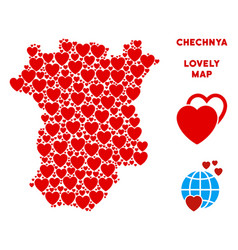 Romantic chechnya map composition of hearts vector