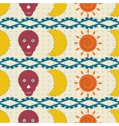 Seamless pattern moon skulls and the sun vector