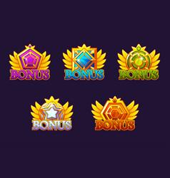 set bonus icons with jewelry stones vector image