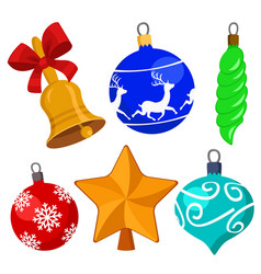 set of christmas toys for decoration on a white vector image