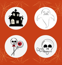 set of halloween round icons vector image