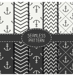Set of monochrome marine geometri seamless pattern vector image