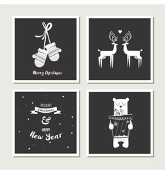 set of vintage greeting cards for christmas black vector image