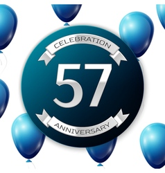 Silver number fifty seven years anniversary vector image