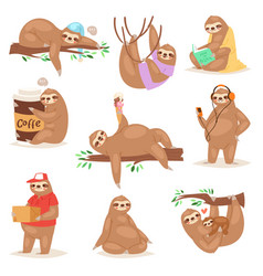 sloth slothful animal character playing or vector image