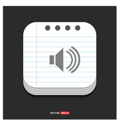 speaker icon gray icon on notepad style template vector image
