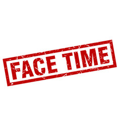square grunge red face time stamp vector image