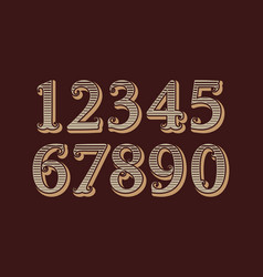 striped vintage numbers in old english style vector image