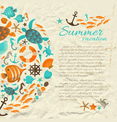 summer vacation paper background with text vector image