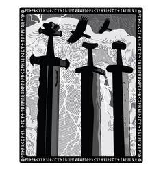 Sverd i fjell - viking swords monument symbol of vector