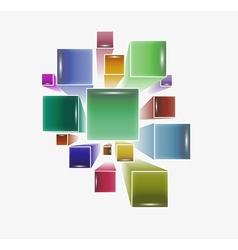 three dimensional squares vector image