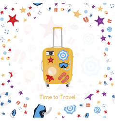 time to travel banner with plastic bag with vector image