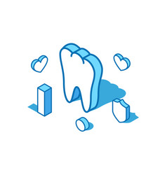Tooth blue line isometric healthy vector