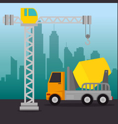 under construction mixer truck vector image